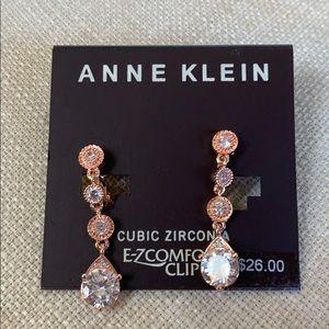 Anne Klein clip-on rose gold earrings